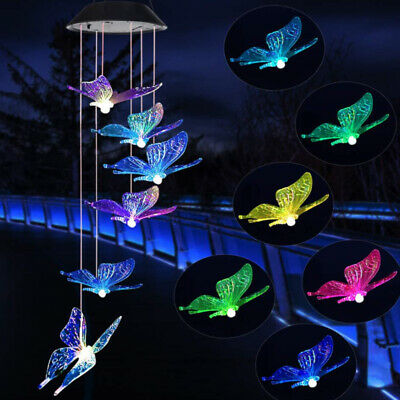 Hanging Wind Chimes Solar Powered LED Light Colour Changing Garden Outdoor Decor • 6.99£