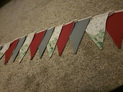 Fabric Bunting New Handmade Gret/red /cream Floral Laura Ashley 3.4 Mtrs Long • 1.99£