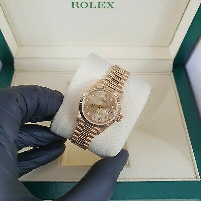 MINT Ladies 18ct Gold Rolex Oyster Perpetual Datejust - Factory Champagne Dial. • 6,500£