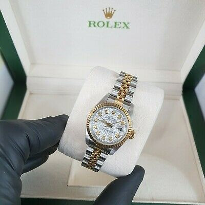 Ladies Steel & Gold Rolex Datejust With White Jubilee Diamond Dial - Rolex Paper • 3,750£