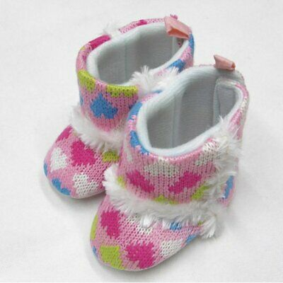 £3.99 • Buy Baby Girls Knitted Heart Print Boots/booties