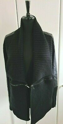 Todd Lynn Black Open Style Cardigan With Faux Leather Sections And Zips Size 18 • 5£