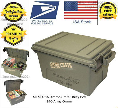 $59.99 • Buy Military Ammo Crate Stackable Utility Caliber Bulk Storage Box MTM ACR7-18 GREEN