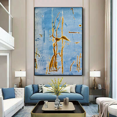 Abstract Modern Gold Blue Paint Botany Canvas Wall Art Picture Print • 10.79£