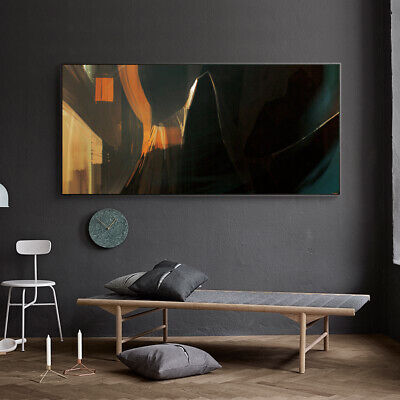 Black Orang & Brown Abstract Painting Canvas Wall Art Picture Print • 10.79£