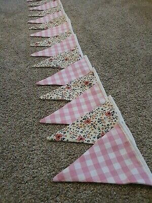 Fabric Bunting New Handmade Floral/laura Ashley Pink Gingham 3.75 Mtrs Longs • 1.99£