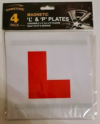 Car Store Magnetic 'L' & 'P' Plates 4 Pack New & Sealed • 0.99£