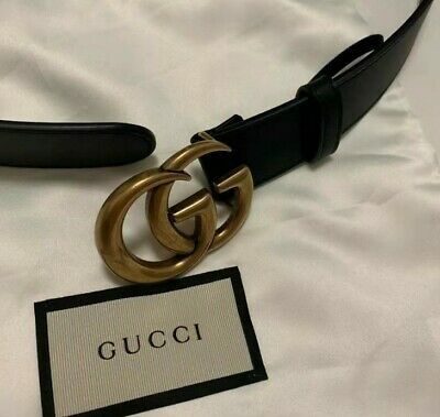 AU150 • Buy GG Marmont Black Leather Belt - 95cm Long