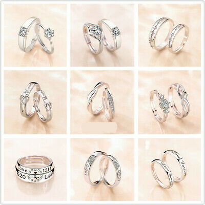 £2.59 • Buy 925 Sterling Silver Couple Rings Endless Love Promise Rings Matching Adjustable