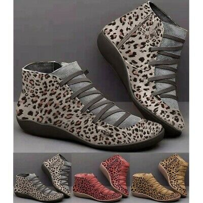 Womens Leopard Arch-Support Ankle Boots Ladies Lace Up Zipper Casual Flat Shoes • 22.35£