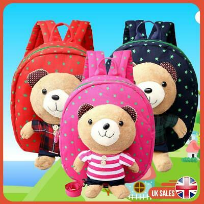 Bear Cartoon Bag Anti-Lost Safety Reins Walking Kids Toddler Backpack Boy Girl • 12.59£