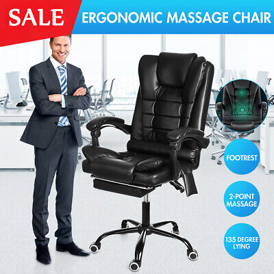 AU128.59 • Buy Ergonomic Massage Office Chair Executive Computer Seat Gaming Chairs Recliner AU