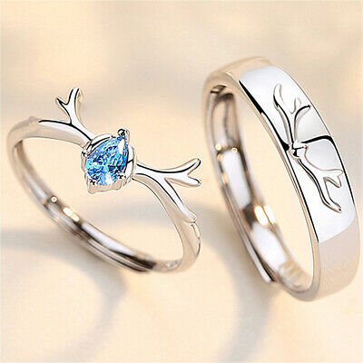 £3.99 • Buy 925 Sterling Silver Couple Rings Adjustable Matching Rings Valentine's Day Gift