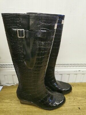 WEDGE WELLY Man Eater Curve Welly Boots With Wedge. Size 7. Black. • 3.99£