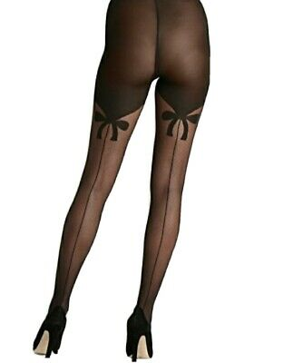 Authentic WOLFORD Secret Bows Black Tights Size M • 26£