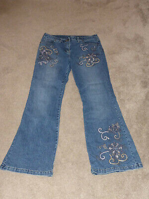 Ladies Wide Leg Jeans With Sequin Detail From Next Size 14L • 3£