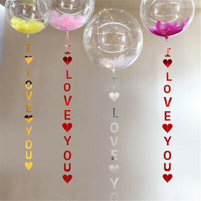 I LOVE YOU Banner Heart Garlands Bunting For Valentine's Day Wedding , UK Stock • 2.77£