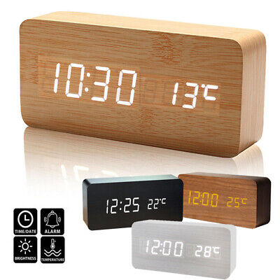 Wooden Creative LED Digital Clock Alarm Clock Time Thermometer USB Rechargeable • 14.49£