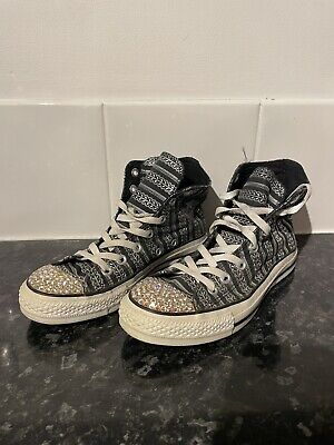Womens Converse All Star Black & Silver Hightop TrainerWith Swarovski Crystals • 3£
