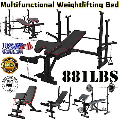 $ CDN271.90 • Buy Gym Adjustable Squat Rack Bench Press Weight Lifting Barbell Stand/ Weight Bench