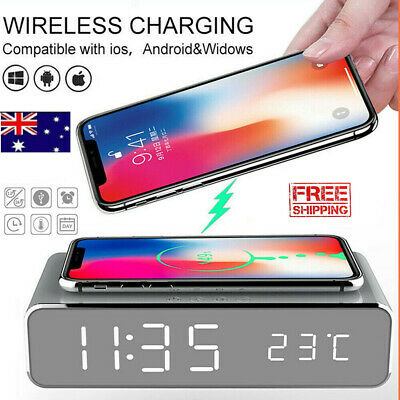 AU27.58 • Buy 3in 1 Digital LED Desk Alarm Clock With Thermometer Wireless Charger For Andriod