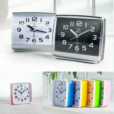 Portable Small Square Alarm Clock Quiet Slight Ticking Snooze Battery Operated • 6.88£