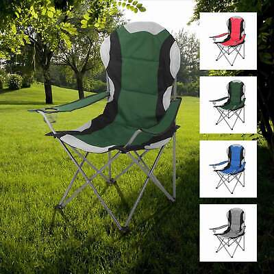 2 Chairs Black Hyfive Folding Camping Chair Heavy Duty Padded High Back Camping Fishing