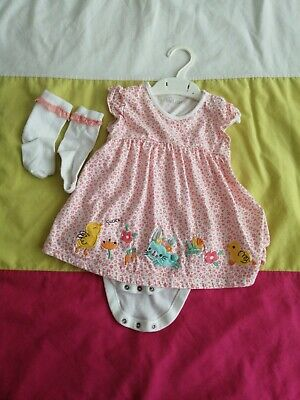 12 - 18 Months Baby Girl Easter Spring Dress With Socks • 1£