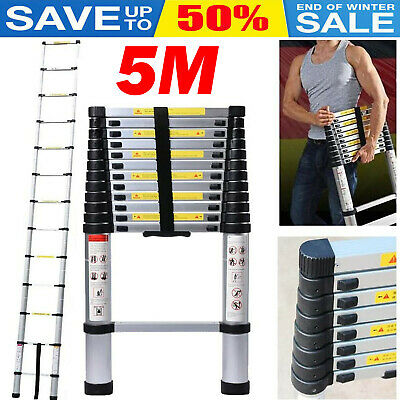 5M Multi-Purpose Aluminum Telescopic Step Ladder Extendable Ladders Heavy Duty  • 72.90£