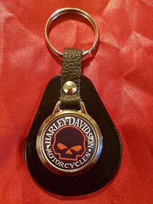 Willie G Harley Davidson Orange Half Skull Top Quality Leather & Metal Keyring • 4.89£