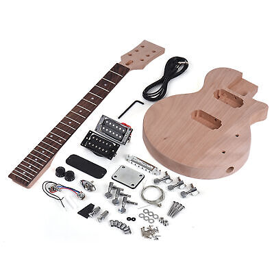 $76.11 • Buy LP Style Unfinished DIY Electric Guitar Kit Set Mahogany Body Dual-coil Pickups