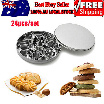 AU11.99 • Buy 24x Stainless Steel Biscuit Baking Mini Cookie Cutters Durable Geometric Shapes