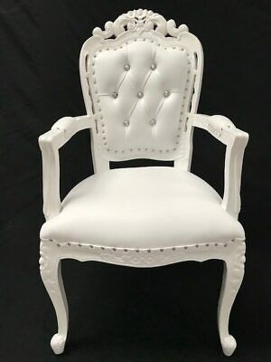 Ornate Franciscan Chair  White Faux Leather W Crystals Home Dining Side Wedding  • 395£