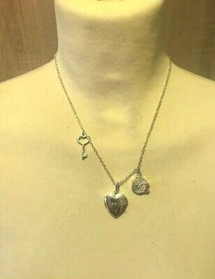 Me To You ~ Silver Tone Chain Necklace + 3 Pendants ~ Locket. Key, Teddy Face • 4£