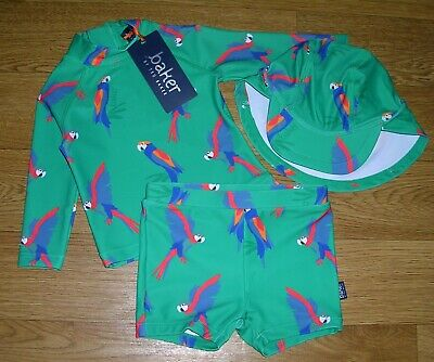 BNWT TED BAKER 3 Piece PARROT UV Sun Suit Beach Set Swim Swimming Age 3-6m NEW • 20£