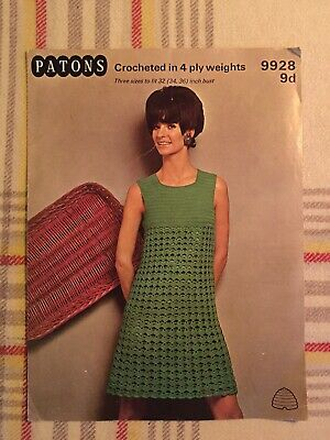 Vintage Patons 9928 Crochet Dress. To Fit 32, 34 36 Inch Bust. • 0.99£