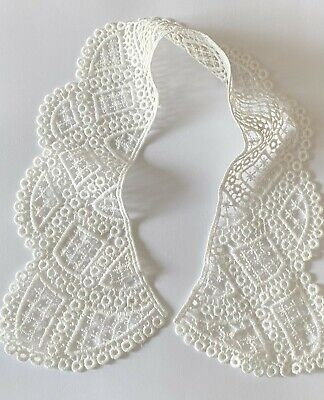 Off White Neckline Fabric Embroidery Applique Lace Collar Sewing DIY Dresses • 3.69£
