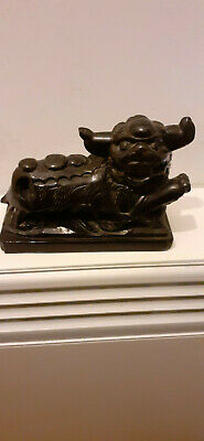 Antique Chinese Black Stone Carved Foo Dog Figure • 18£