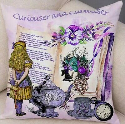 CURIOUSER & CURIOUSER ALICE IN WONDERLAND PLUSH CUSHION COVER 45x45cm  🇬🇧 🐇  • 7.50£