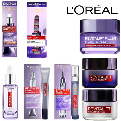 L'oreal Revitalift Filler+Hyaluronic Acid Day-Night- Eye Cream & Serum Brand New • 9.49£
