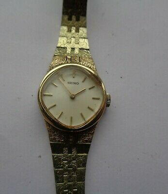Working Order! Ladies Seiko Wind-up  Watch: Gold Coloured Metal Strap     • 2.19£