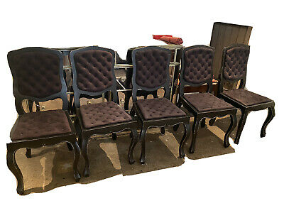 AU108 • Buy 6 Black Wooden And Velvet Chairs