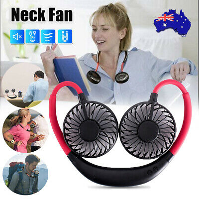 AU14.88 • Buy Neck Fan Hanging USB Charging Travel Neck Lazy Tool Portable Sport Dual Cooler