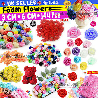 100 Pcs Large 6CM Artificial Flowers Foam Rose Heads Wedding Party Decor Bouque • 7.49£
