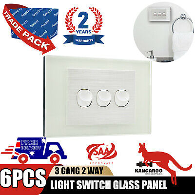 AU59.42 • Buy 6PC Wall Light Switch 3 Gang Power Point Glass GPO Clipsal Compatible Wholesale
