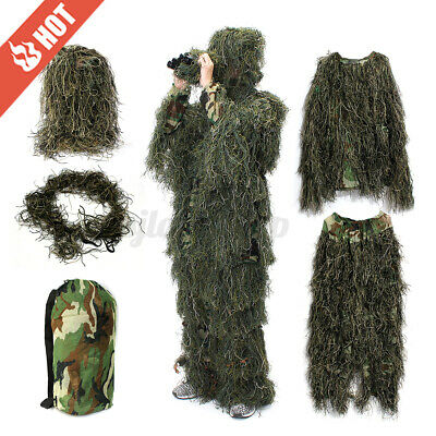 AU32.99 • Buy Hunter Ghillie Suit 5Pcs Woodland Camouflage Hunting Archery/Sniper Clothing