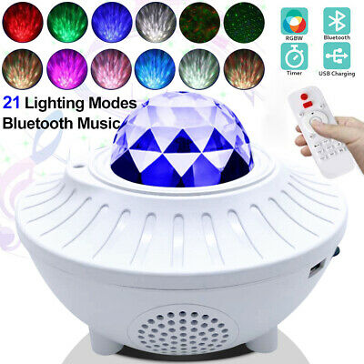 LED Star Night Light Music Starry Water Wave Bluetooth Music Player Projector UK • 6.99£