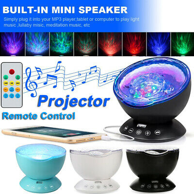 Ocean Wave Music Player LED Night Light Projector Relax Mood Remote Lamp Gift UK • 14.18£