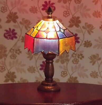 £6.99 • Buy 1:12 Scale Coloured Tiffany Working Table Light Dolls House Lamp Accessory 1017