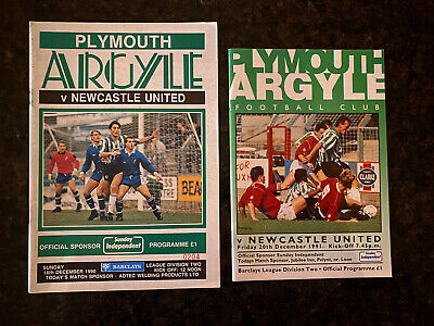 Job Lot 2 X PLYMOUTH ARGYLE V NEWCASTLE UNITED HOME Programmes 1990 & 91 • 3.50£